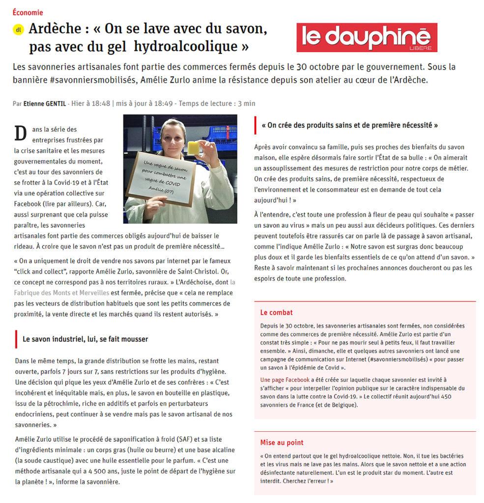 #savonniersmobilisés Dauphiné Libéré