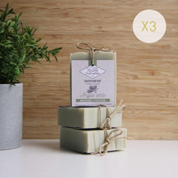 LOT-3-savons-ARGILE VERTE