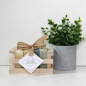 Assortiment cadeau bois 4 savons de 90g